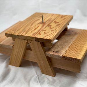 Squirrel picnic table
